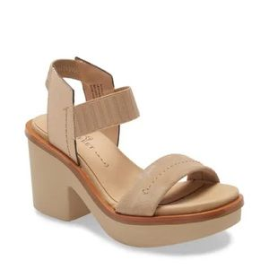 Naked Feet Women's Leather Nude Clunky Heel Sz 7 M
